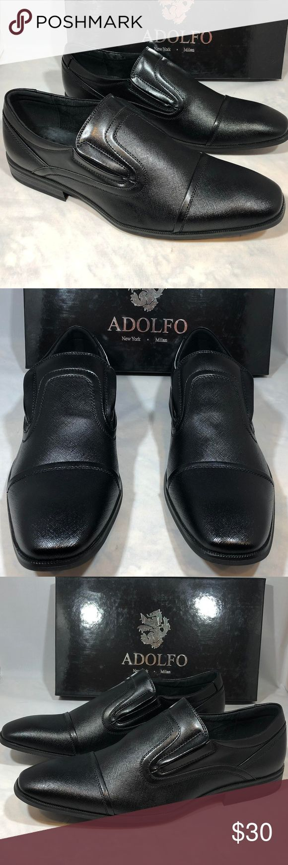 Adolfo Julian Men's Slip-On Cap Toe Dress Shoes Adolfo   Julian Men's Slip-On Cap Toe Dress Shoes  Style: Trump-1  Color: Black  Size: 13  Very nice black slip on dress shoes comes new in original Adolfo box at a fraction of retail! Adolfo Shoes Loafers & Slip-Ons