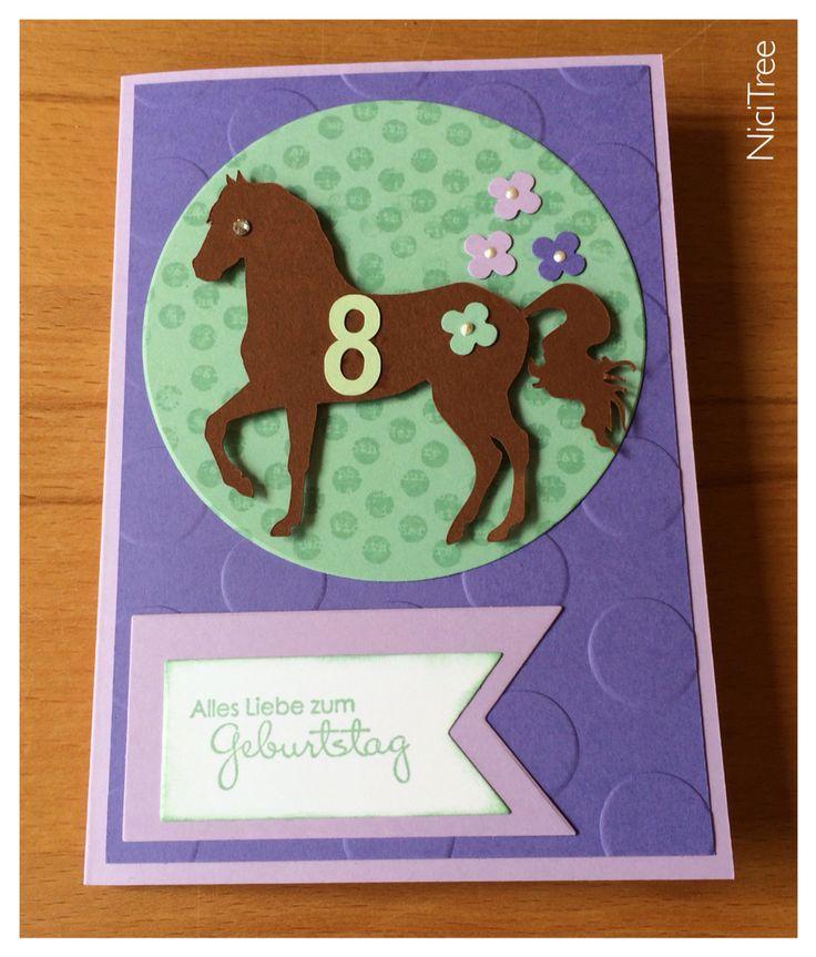Stampin Up! Geburtstagskarte, Mädchen, zum 8. Geburtstag