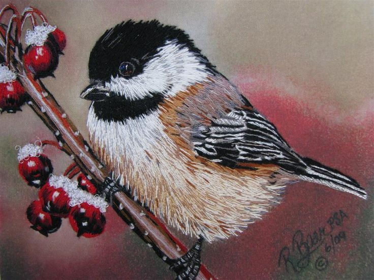 A Chickadee in long and short stitch, embroidery by Elza DeJager after original painting by Roby Baer PSA.