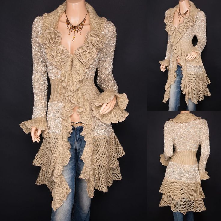 Trendy Beige Ruffled Floral Applique Tiered Hem Cardigan Long Sweater Jacket 14