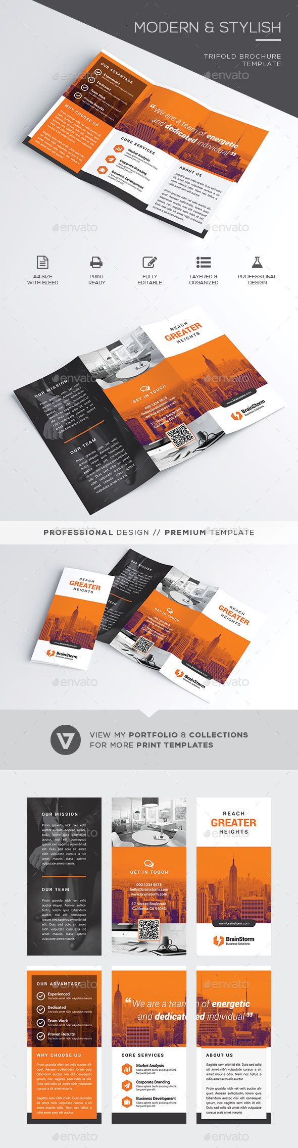 Trifold Brochure Template by verazo Stylish & Modern Business Trifold Brochure Template A highly versatile corporate trifold brochure suitable for all business indust