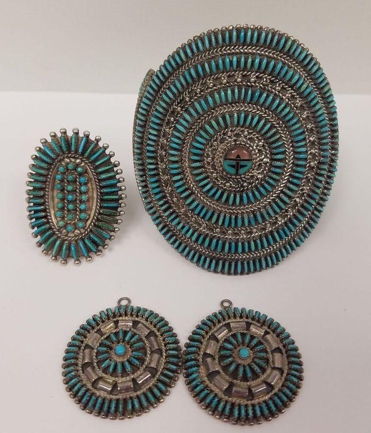 Old Pawn Native American Jewelry Needlepoint Set HM