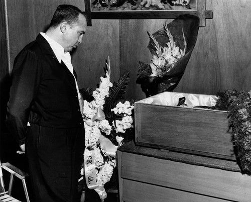 Funeral for Mickey Cohen's beloved  bulldog, 1960. Pinned by Judi Crowe.