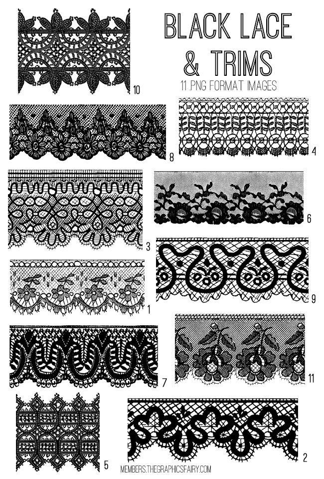 Black Lace Trims Image Kit Graphics Fairy Premium Membership Lace Drawing Lace Trim Black Lace
