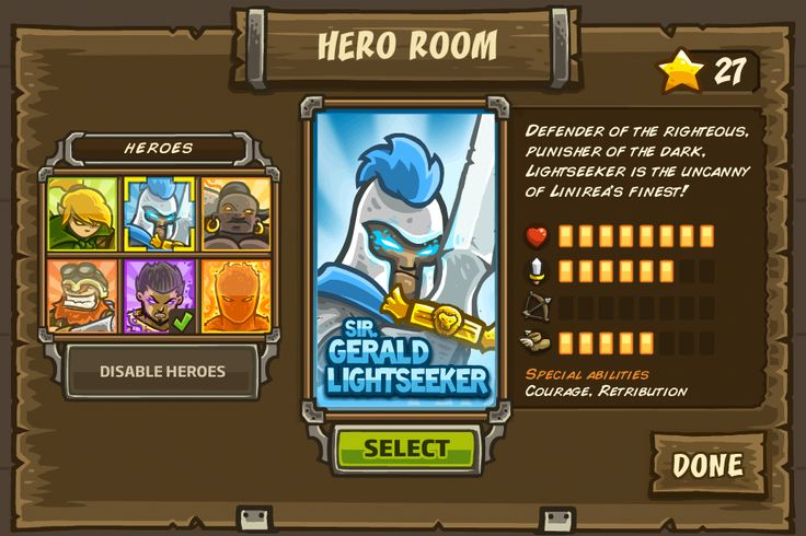 Kingdom Rush - Hero Room (http://playpeep.tumblr.com/)