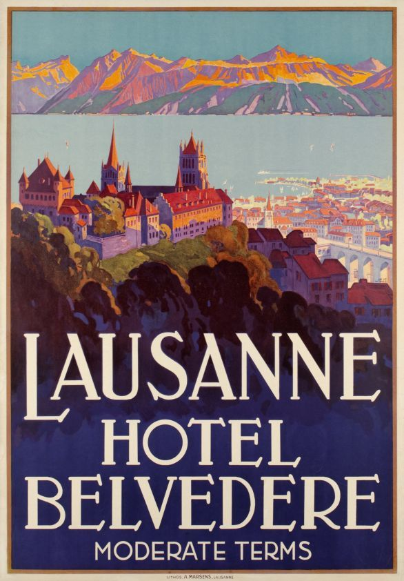 """Lausanne, Hôtel Belvédère (by Muller Johannes Emil / 1929) Beautiful Art Deco poster showing the Cathedral from the 13th century overhanging the city of Lausanne and the lake of Geneva. """"Ouchy"""" is the Lausanne lakeside, the French Alps are in the background."""