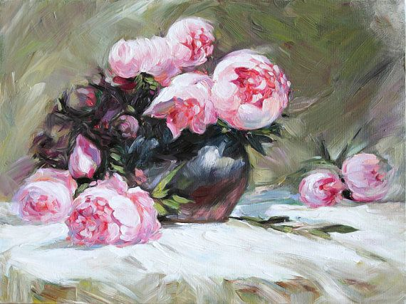 Peonies Flowers Still Life in Vase TEXTURED Oil by AnastassiaArt, $135.00