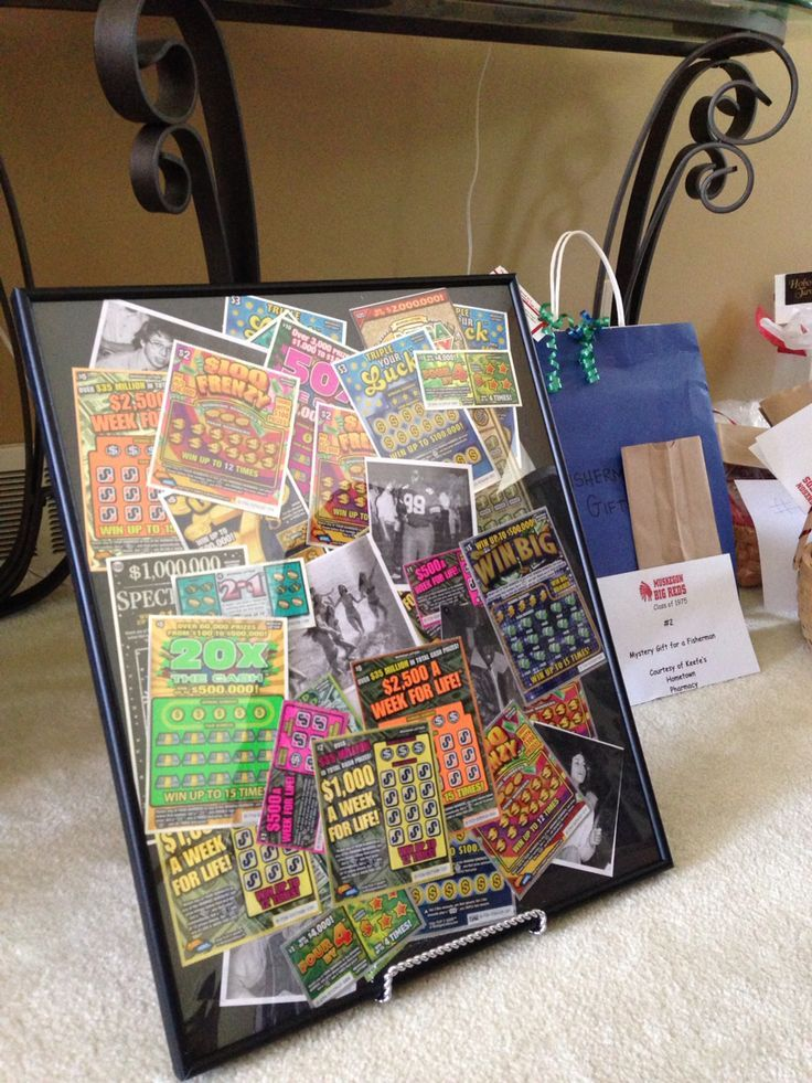 16x20 frame full off scratch off lottery tickets for class reunion raffle prize. Scatter pics of your classmates in with the tickets to personalize