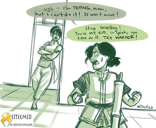 Toph teaching Lin to metalbend...