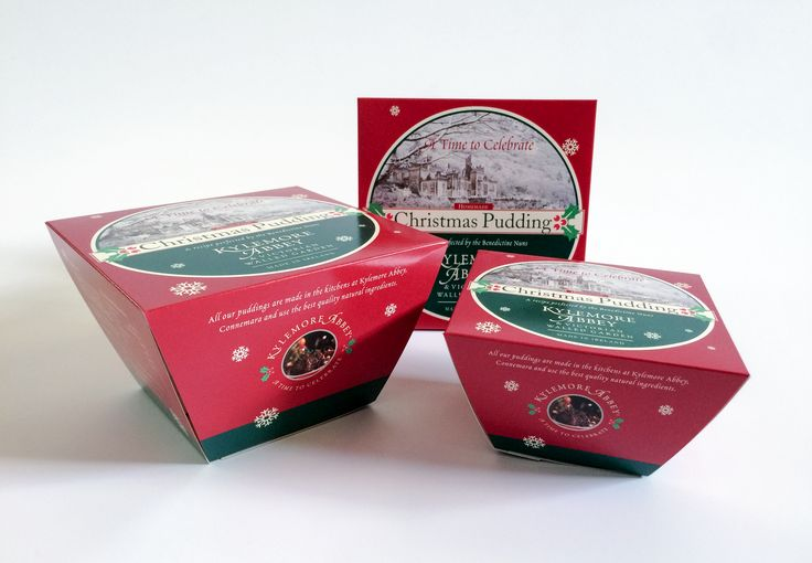 Christmas pudding box printing for Kylemore Abbey.