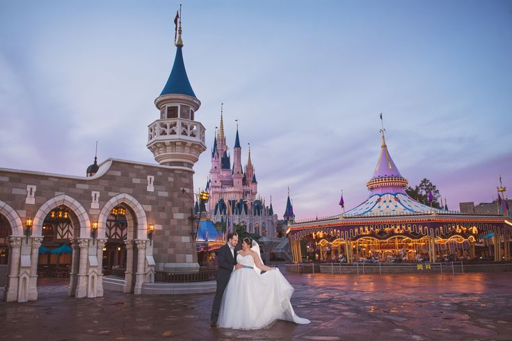 This Disney couple is living a magical fantasy at their portrait session in Magic Kingdom. Photo: Beth, Disney Fine Art Photography