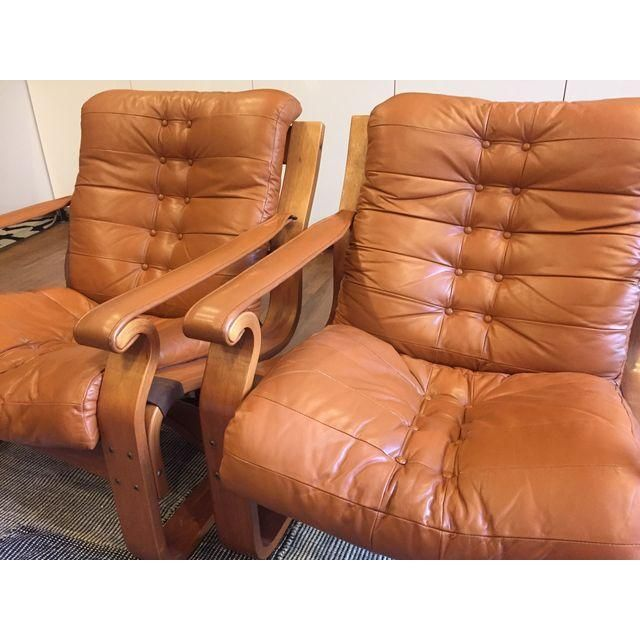 Image of Mid-Century Scanform Leather Bentwood Chair - Pair