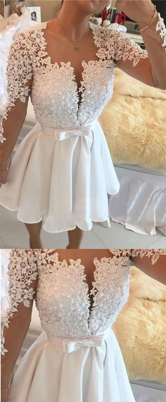 040c51a5576f 2018 Cute Long Sleeves Homecoming Dresses Chiffon With Appliques Bow Knot  #appliques #homecomingdresses #promdresses #chiffon #longsleeves  #shortpromdress # ...