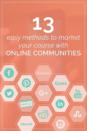 Marketing your course, business, infoproduct or digital content is essential to growing your audience and increasing traffic to your site. So we divulged our best secrets on how to use Facebook groups, Pinterest, SlideShare, Quora and 9 more online communities on how to do so. Click to watch our  videos explaining how to leverage these 13 different communities to make your content go viral!