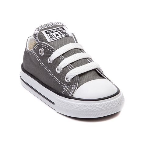 Shop for Toddler Converse All Star Lo Sneaker in Grey at Journeys Kidz. Shop today for the hottest brands in mens shoes and womens shoes at JourneysKidz.com.Classic Converse Lo Top for the younger courtsters. You can never be too old or young for the originals. The smaller styles still feature the famous durable canvas upper and rubber sole like only Converse can do it.