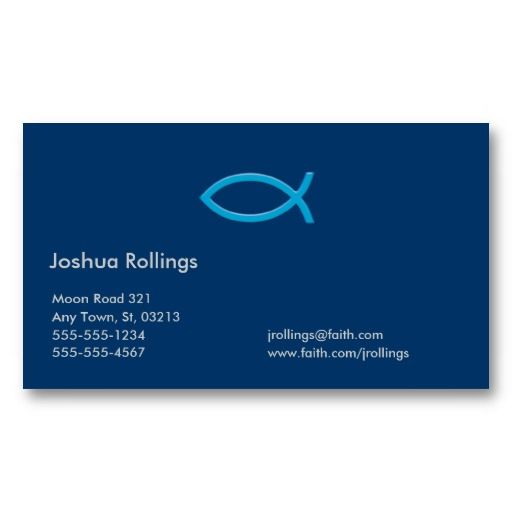 20 best business cards for pastors images on pinterest business blue christian fish business card colourmoves