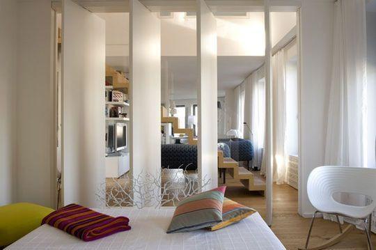 Раздвижные перегородки для зонирования пространства в комнате - 47 ...