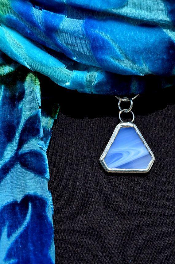 Geometric Necklace Pyramid Stained Glass Jewelry door BayouGlassArts, $30.00