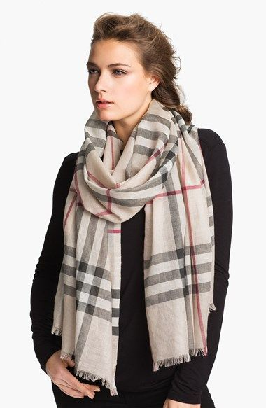 Free shipping and returns on Burberry Giant Check Print Wool & Silk Scarf at Nordstrom.com. A gauzy, lightweight scarf is elegantly patterned with an oversized check print—breezy, versatile and stylish.