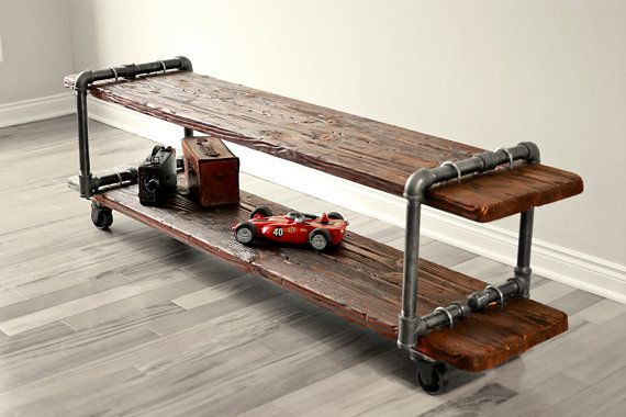 Vintage Industrial Cast Iron Pipe Table TV by VintageLightCompany, $425.00