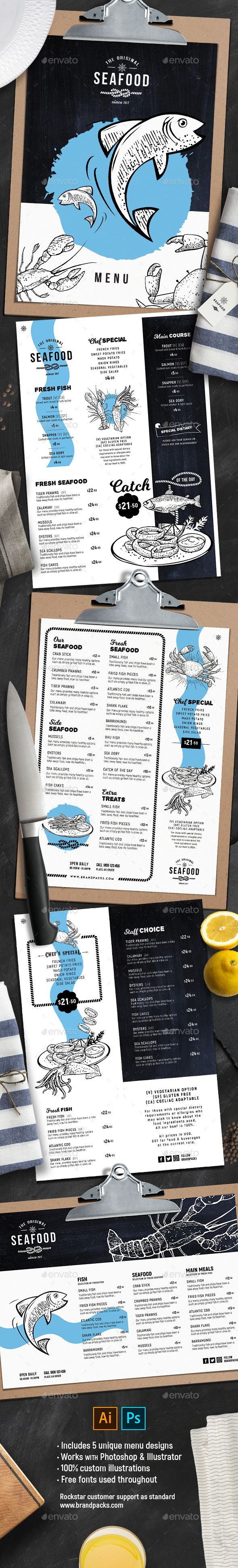 Seafood Menu Templates — Photoshop PSD #food menu #lobster • Available here ➝ https://graphicriver.net/item/seafood-menu-templates/21003939?ref=pxcr