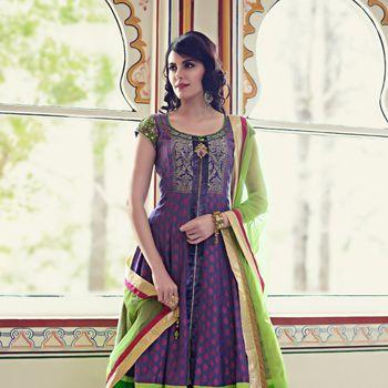 Purple Banarsi Cotton Churidar Kameez