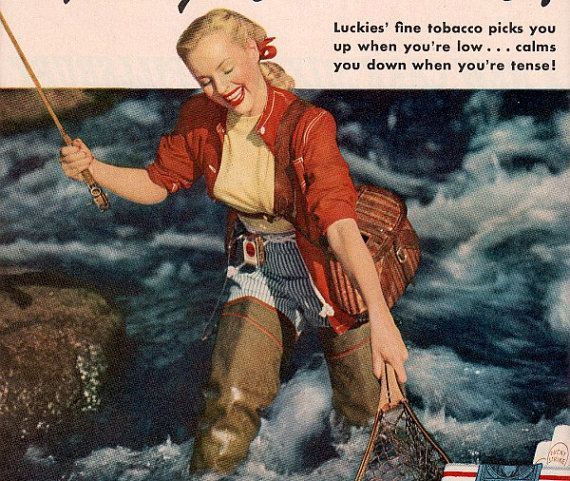 vintage pinup fly fishing 1947 advertisement by FrenchFrouFrou, $14.95