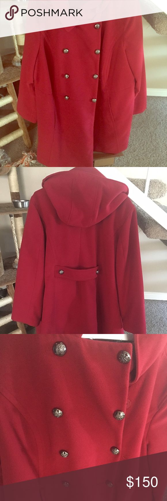 Women's Style & Company red pea coat with hoodie. Women's Style & Company red pea coat with hoodie. Only worn a couple of times. I can no longer wear it since it is too large. Very bright red and heavy material. Style & Co Jackets & Coats Pea Coats