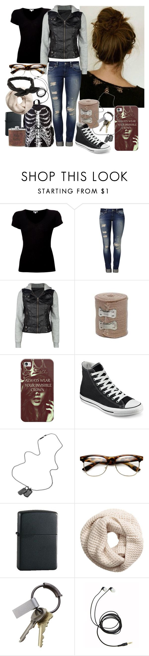 """""""School Look"""" by smash22 ❤ liked on Polyvore featuring James Perse, Mavi, Full Tilt, Casetify, Converse, Diesel, Zippo, H&M, CB2 and NLY Accessories"""