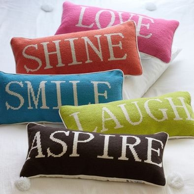 needlepoint word inspiration pillows