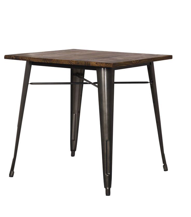 Metropolis Metal Dining Table Wood Top, Gunmetal