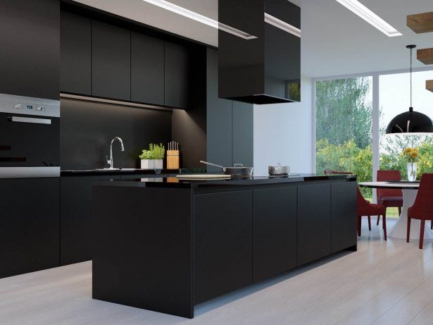 Kitchen All Black Kitchen On All Light Wood Floor Standout Contrast Kitchen Island Granite Countertop Black Kitchen Design Ideas Best Black Kitchen Design Ideas For Your Next Remodel