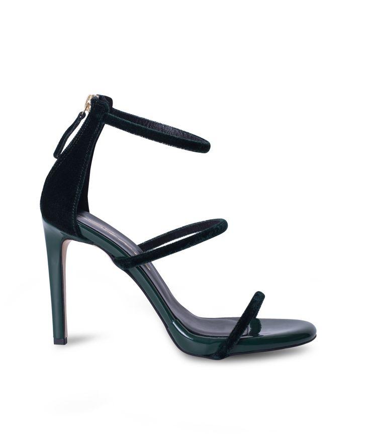 SANTE strappy stiletto sandal and the velvet elegance is on! Green