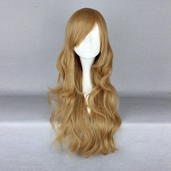 Harajuku largos rubios de oro calientan la alta temperatura amistosa traje del pelo sintético cosplay peluca