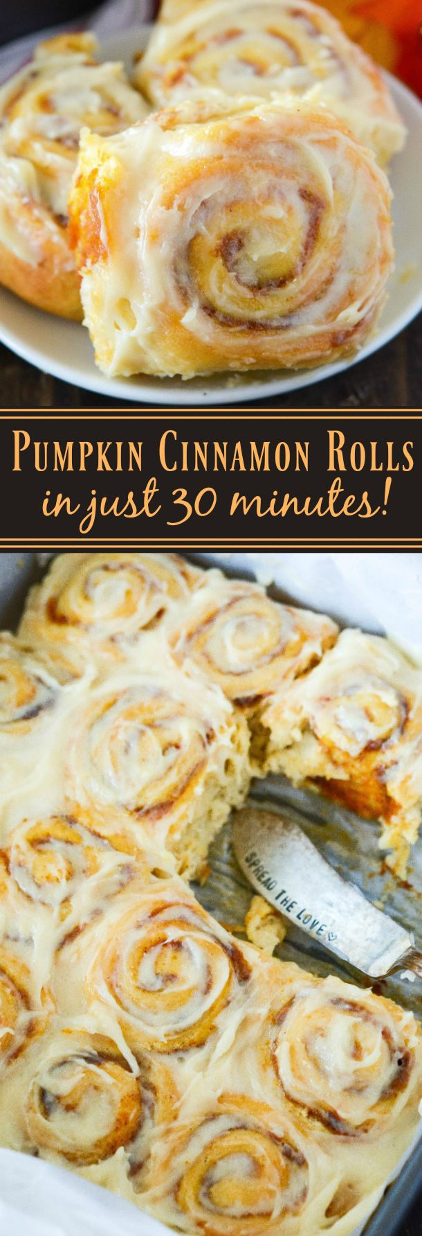 Pumpkin Cinnamon Rolls made in just 30 minutes! Sweet pumpkin cinnamon rolls are made quickly with crescent dough and then covered in a delicious cream cheese frosting!: