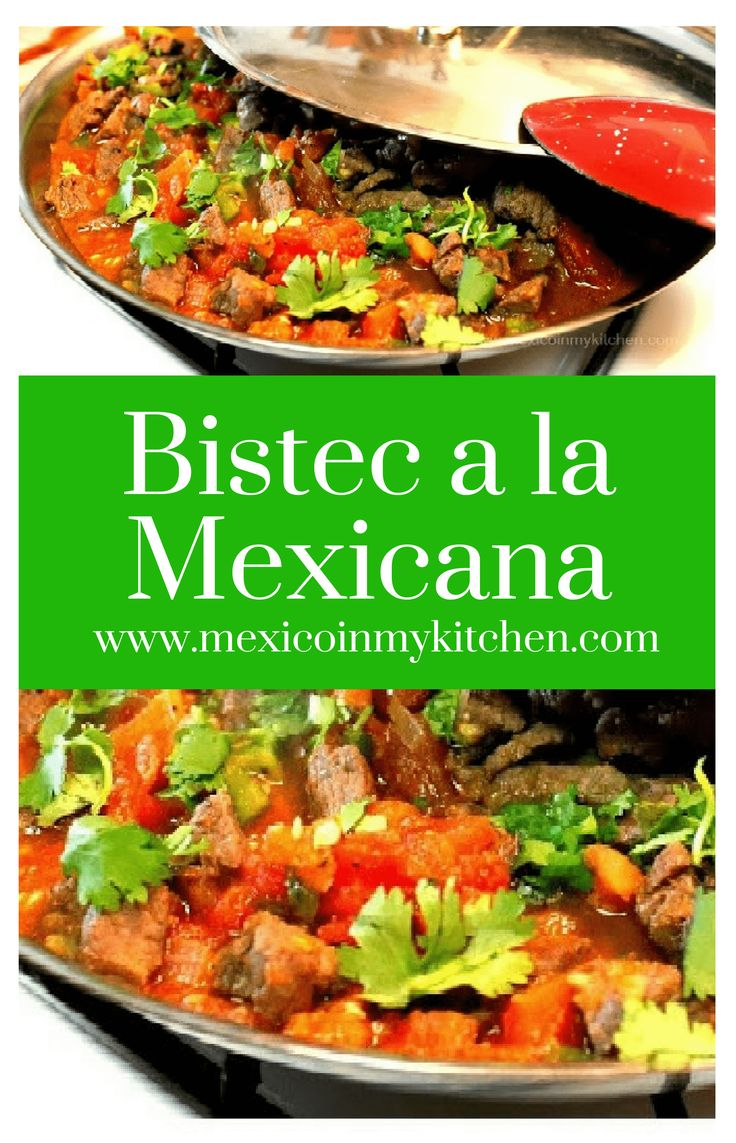 Bistec a la Mexicana or in this case Beef tips Mexican Style are a very easy to prepare the meal. 2poundsof beef tips4large tomatoes1/2medium size onion4serrano peppers2clovesof garlic peeled1/2teaspoonof black peppercorns1/2teaspoonof cuminSalt to taste2tablespoonsof vegetable or olive oil