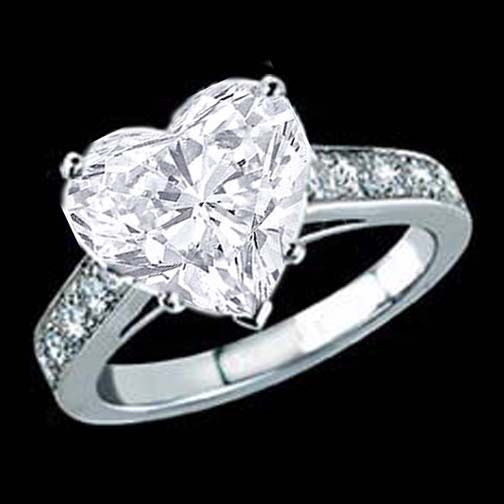 Heart Shape Diamond Cathedral Engagement Ring with channel round diamonds. It's so gorgeous!