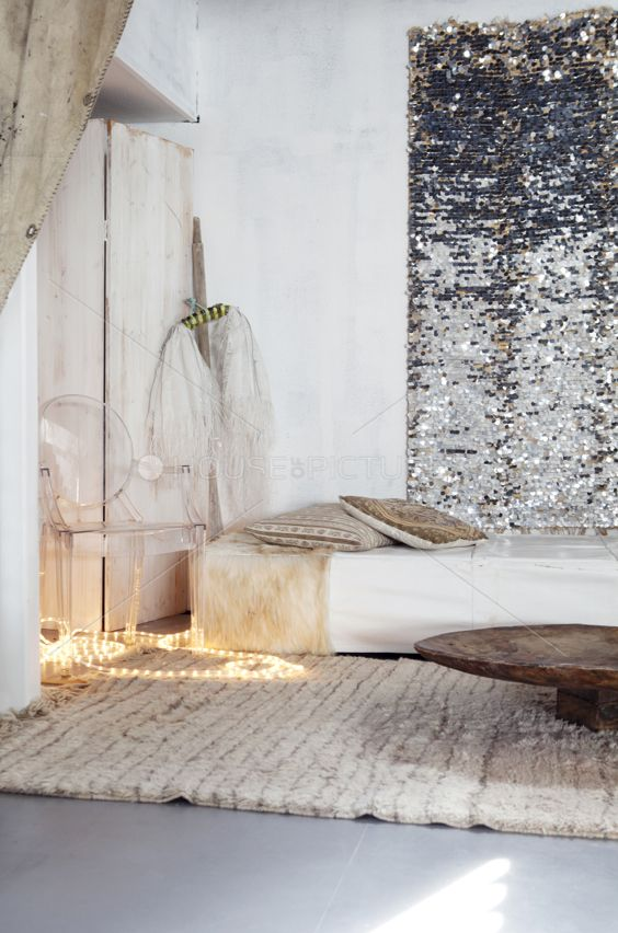 minimalist natural home ~ sequin wall hanging *Love the sparkle and fur rug