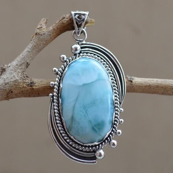 Blue Topaz Jewelry Gift For Her 925 Sterling Silver Pendant Larimar Blue Topaz Pendant Topaz Pendant Necklace Pendant Larimar Pendant