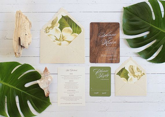 Dying over these tropical wedding invites! (Invites by Oak and Orchid)