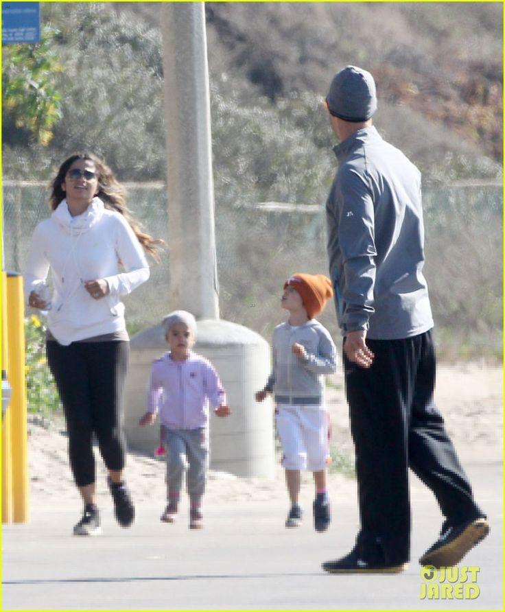 Matthew McConaughey and Camila Alves go for a jog with their kids Levi and Vida on January 2, 2014