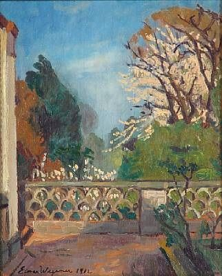 View from a terrace (+ Study of a woamn, verso) by Einar Wegener