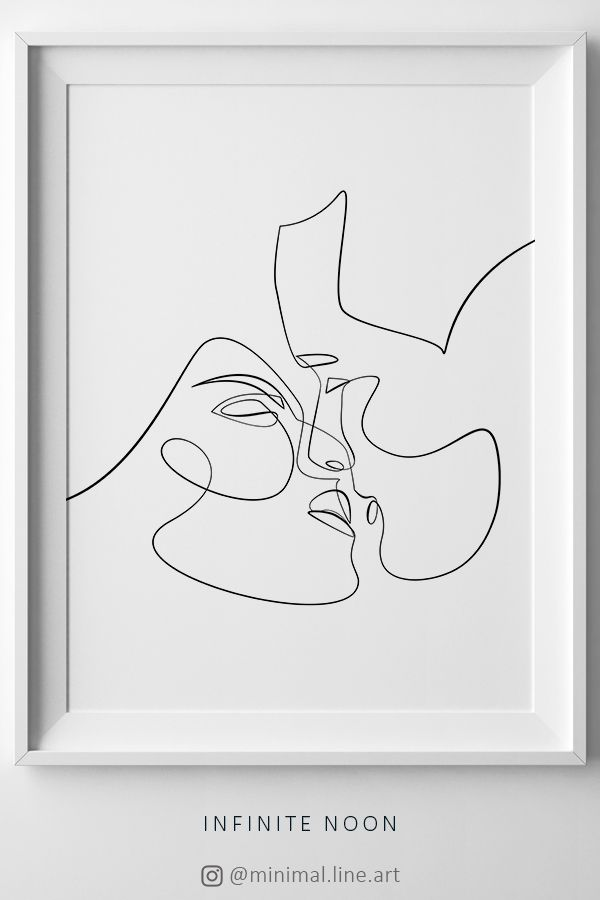 Couple Kiss Illustration, One Line Drawing Printable Art, Intimate Love Line Sketch, Minimalist Kissing Wall Art, Minimal Love Art Print – MenTrendToday