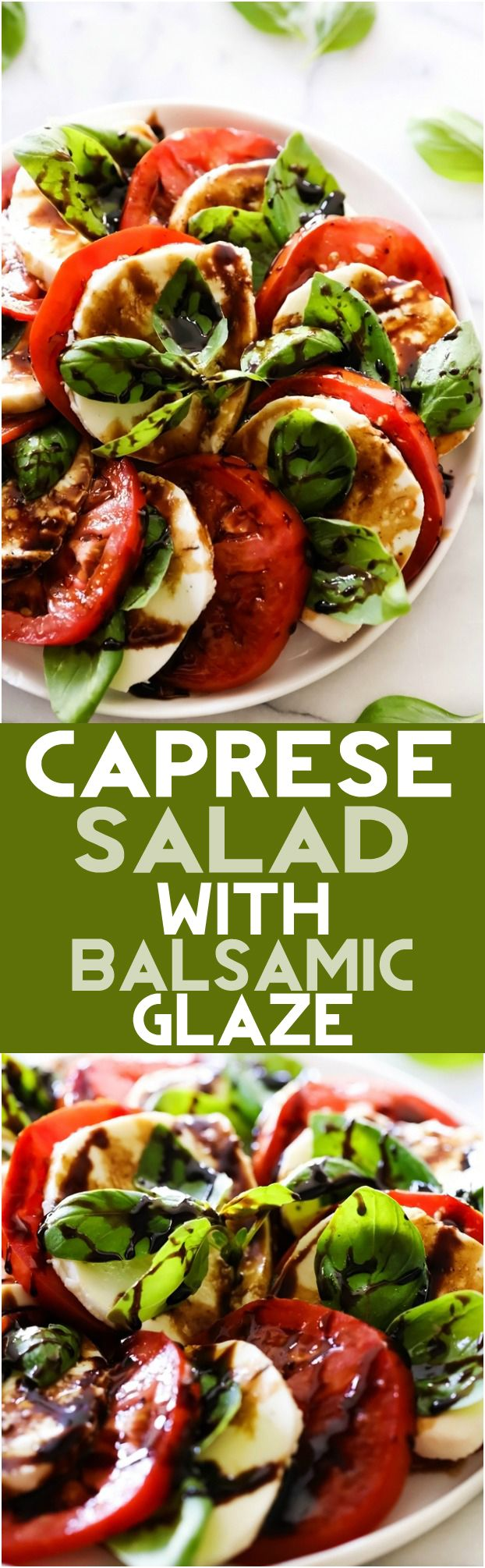 Caprese Salad with Balsamic Glaze... A refreshing and light salad comprised of tomatoes, mozzarella and basil. It is topped with an incredible Honey Balsamic Glaze that ties all the flavors together for an incredible meal, side dish or snack.