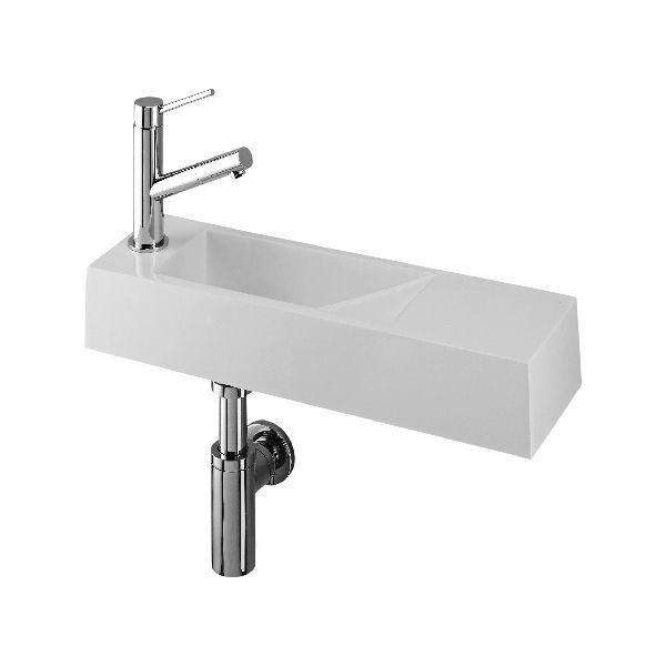 Lave-mains étroit 50x14,5 cm, résine minérale, robinet à gauche