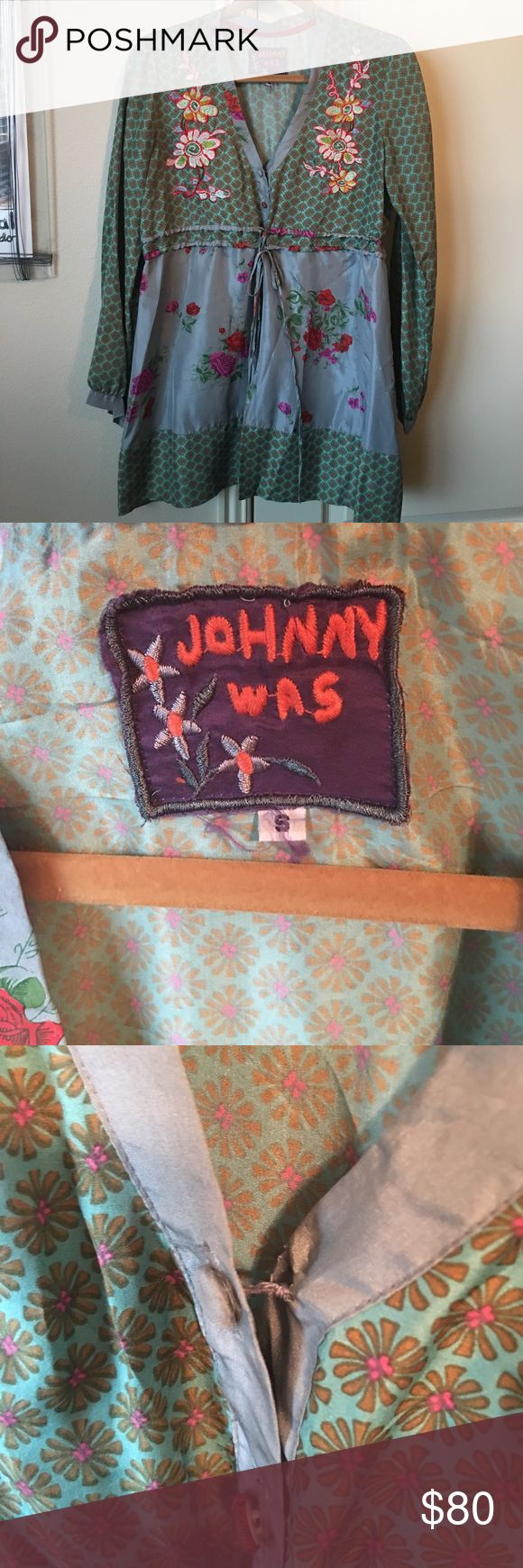 Johnny Was 100% silk top size small Johnny Was 100% silk top size small. The top button is a little loose. Beautiful embroidery on the front. Buttons down the front, and ties around the waist. No holds or trades. ❤❤❤ Johnny Was Tops Blouses