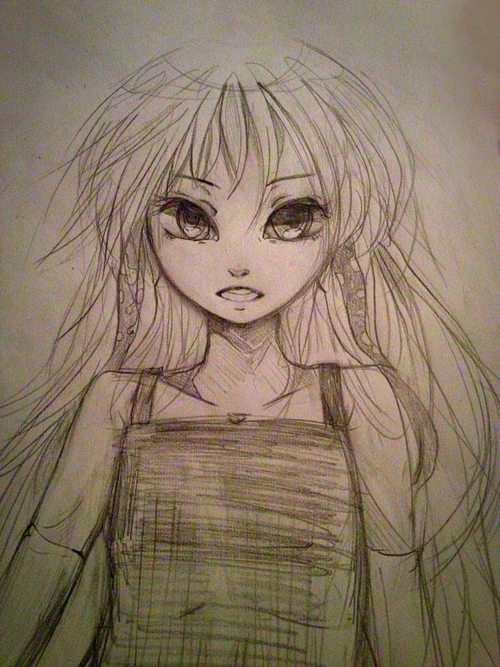 Anime girl practice goat demon thing dunno not my usual style Pencil sketch wonky thing