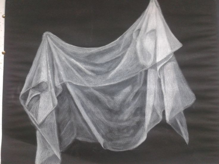 Drawing Excercise, White pastel on black paper, sheer material