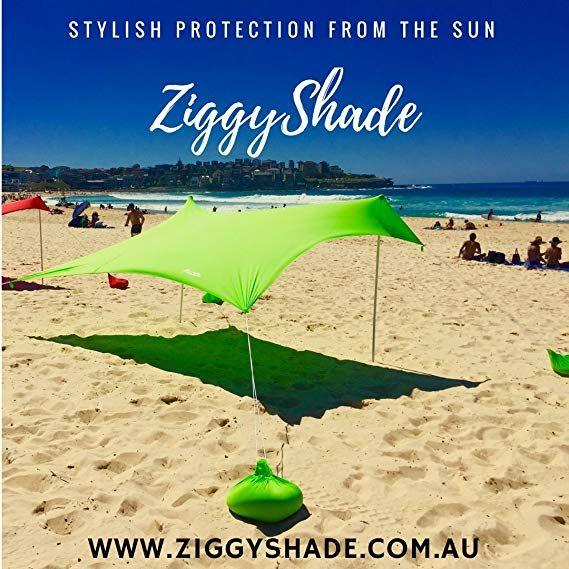 ZiggyShade Family Beach Sunshade – Lightweight Sun Shade Tent with Sandbag Anchors & 4 Free Pegs | UPF50+ UV Quality Lycra Fabric | Large & Portable |