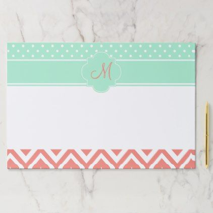 Monogram Coral Chevron with Mint Polka Dot Pattern Paper Pad - monogram gifts unique design style monogrammed diy cyo customize
